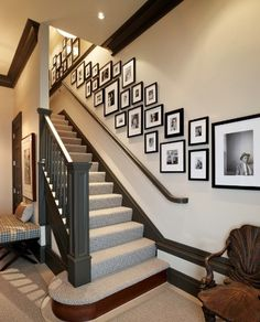 A staircase is a significant portion of a home. Hence, one has to be sure whilst selecting the kind of staircase to use. If you own a staircase or railing in your house or on the porch, it's simple to ensure it is festive. Stairway Walls, Staircase Wall Decor, Staircase Design, Stairwell Decorating, Stairwell Wall, Staircase Remodel, Basement Stairs, Stairway Picture Wall, Staircase Diy