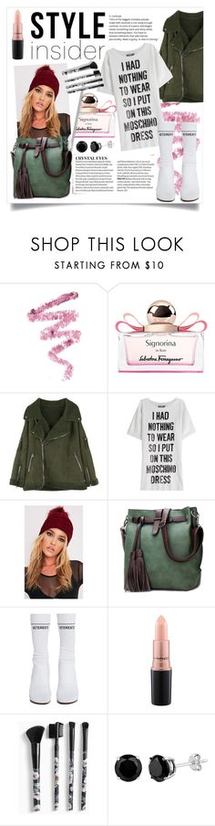 """""""Sock Boots"""" by naomicunsolo ❤ liked on Polyvore featuring Cynthia Rowley, Salvatore Ferragamo, Moschino, Vetements, MAC Cosmetics and Torrid"""