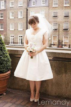 simple short princess taffeta wedding dress knee length. $175.00, via Etsy.