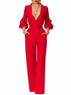 """Beverly Hills"" Red Button-Down Jumpsuit - Schwestern Diva Fashion, Vogue Fashion, Suit Fashion, Tube Top, Red Jumpsuit, Fall Fashion Outfits, Overall, Camilla, Jumpsuits For Women"