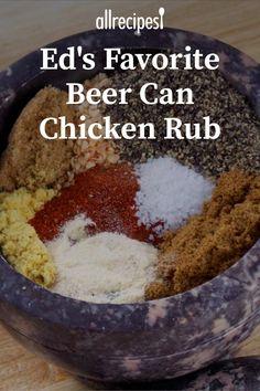Ed's Favorite Beer Can Chicken Rub Recipe Smoked Beer Can Chicken, Beer Butt Chicken, Dry Rub For Chicken, Canned Chicken, Smoked Beef, Best Chicken Rub, Grilled Chicken Rub, Homemade Spices, Homemade Seasonings