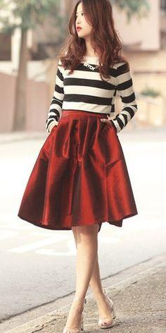 Modest knee length metallic ruby red skirt | Mode-sty tznius fashion