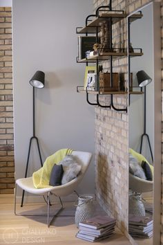 Cool industrial style shelving.