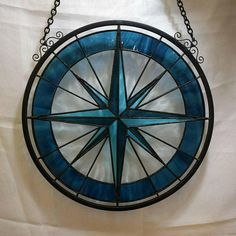 Stained Glass Compass Rose Panel