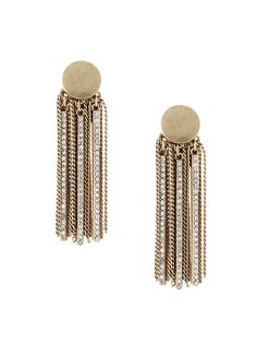 Add some razzle dazzle to your lobeswith these fun luxe tassel earrings with a vintage vibe. Crafted with gold button studs and fringe of chains and crystal detailing.