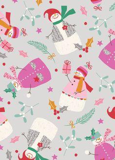 christmas snowman snow woman design illustration print greetings card victoriajohnsondesign.com