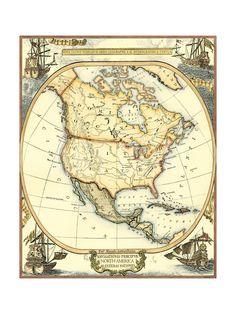 Nautical Map of North America Art Print by Vision Studio at Art.com