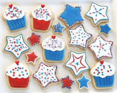 Fun 4th of July Cookies by @Glorious Treats...great fot a party on the beach!