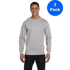 5dc6d267 Hanes Mens 5.2 oz. ComfortSoft Cotton Long-Sleeve T-Shirt 5286 (3 Pack),  Silver