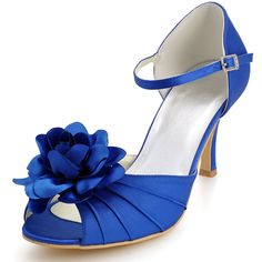 "Blue Fancy 3"" Hand Made Flower & Pleats Peep-toe Sandals - Party shoes (4 Colors)"