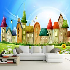 Custom Mural Wallpaper Roll Embossed Non Woven Cartoon House Bright Color Kids Wall Paper Home Decor TV Sofa Backdrop