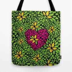Petal leaf  heart illustration. Floral bag (pop art)