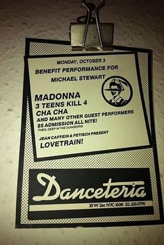 The most famous version of Danceteria (30 W. 21st St.), one of the most iconic New York night clubs of the '80s, was located at 30 West 21st St. The club was basically ground zero for Madonna's career in the early '80s, and its regulars included Jean-Michel Basquiat, Keith Haring, LL Cool J, Cyndi Lauper, Sonic Youth, Run-DMC, The B-52s, Billy Idol, Duran Duran, and New Order. Now the space is occupied by a showroom for high-end granite and marble products.