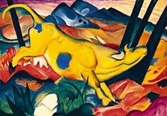 Franz Marc (German, Yellow Cow (Gelbe Kuh), Solomon R. Guggenheim Museum, New York. Oil on canvas, x cm. © Estate of Franz Marc. Franz Marc, Wassily Kandinsky, Expressionist Artists, Abstract Expressionism, Abstract Oil, Cavalier Bleu, Jasper Johns, Cow Painting, Painting Canvas