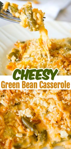 Cheesy Green Bean Casserole is an easy side dish recipe made with Campbell s cheddar cheese soup shredded Parmesan mozzarella cheddar and topped with Townhouse Light and Buttery Original Crackers and French s Fried Onions Green Bean Casserole Bacon, Homemade Green Bean Casserole, Classic Green Bean Casserole, Side Dishes Easy, Vegetable Side Dishes, Side Dish Recipes, Dinner Recipes, Greenbean Casserole Recipe, Vegan Recipes