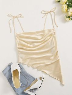Satin Cami Top, Camisole Top, Cami Tops, Diy Clothes, Fashion Photo, Trendy Outfits, Fashion News, Womens Fashion, Knot