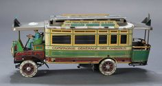 "12"" French lithographed mechanical Parisian omnibus by Charles Rossignol, early 20th century. Rare."
