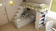 Návrh detskej izby CU-Interiors - Ideas of children room Bunk Beds, Kids Room, Loft, Interiors, Children, Furniture, Ideas, Design, Home Decor