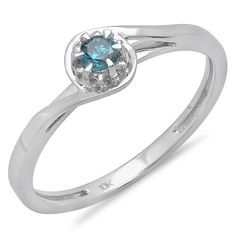 0.12 Carat (ctw) 10K White Gold Round Cut Blue Diamond Ladies Twisted Style Solitaire Bridal Promise Ring *** Don't get left behind, see this great  product : Promise Rings Jewelry