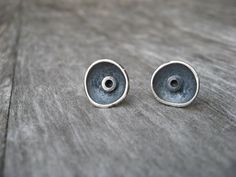 Sterling silver artisan saucer post earring by LisaColbyMetalsmith, $60.00