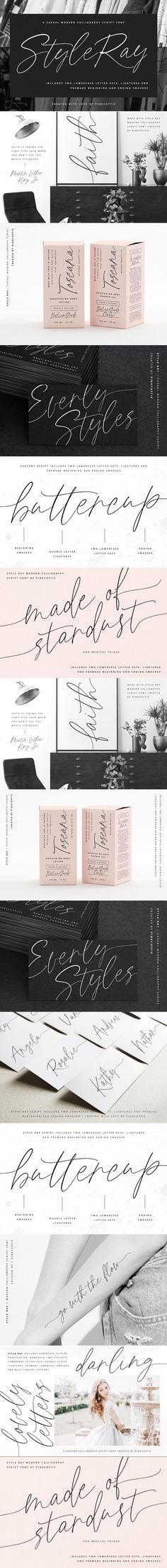 Style Ray Modern Calligraphy Script #truetype #woff #WeddingFonts #otf #calligraphyfont #handletteredfont #calligraphyscript #swashesfont #ttf #swashesfont #savethedate #brandingfont #weddingfont #truetypefont #digitalfont #packaging #script #modernscript #woff Best Script Fonts, Ttf Fonts, Cursive Fonts, Calligraphy Fonts, Typography Fonts, Cool Fonts, Modern Calligraphy, Typography Design, Script Alphabet