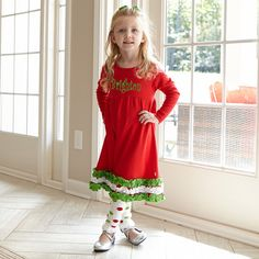Girl's Personalized Red Green White Squinchy Dress – Lolly Wolly Doodle