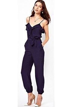 e955667466 Dear-Lover Women s Ruffle Spaghetti Strap Slip Jumpsuit with Belt Rompers  Dressy