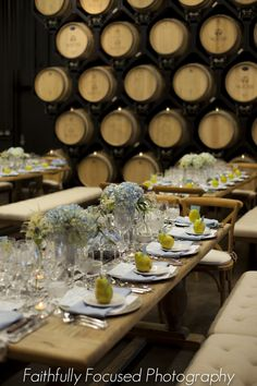 Seated Reception for 50 in our Cellar Room  http://www.wienscellars.com/temecula-wedding/