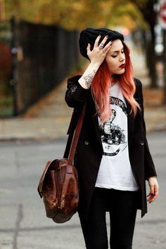 purse, hair and blazer!