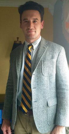 Ralph Lauren rugby herringbone wool tweed blazer, blue striped Oxford, collegiate tie, Hampton corduroys.
