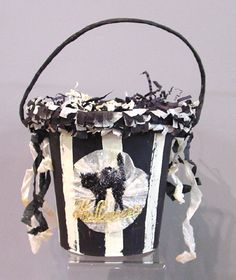 love this black and white striped pail! definite inspiration for black cat bingo