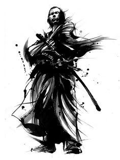 松山で墨絵イラストレーター茂本ヒデキチさん個展-白と黒で躍動表現 坂本龍馬