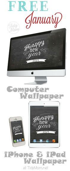 FREE January New Year Chalkboard Wallpaper at TidyMom,net
