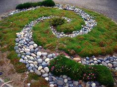 spiral garden with river rock