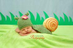 Snail Photo Prop Crochet - Newborn. $40.00, via Etsy.