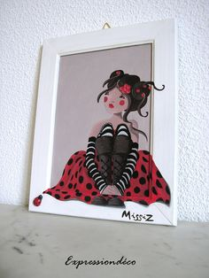 Missiz Coccinelle Art Mignon, Deco, Cute Art, Just Love, Ladybug, Drawing Girls, Etsy, Driftwood, Drawings