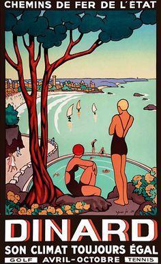 Dinard, Britany, France.  1933  http://www.vintagevenus.com.au/products/vintage_poster_print-tv768