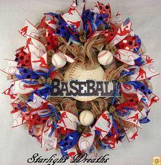 Baseball Ruffled Mesh Wreath, Baseball Wreath, Baseball Mesh Wreath, Sports Wreath Baseball Wreaths, Sports Wreaths, Mesh Wreaths, Summer Wreath, 4th Of July Wreath, Spring Wreaths, Diy Wreath, Wreath Ideas, Nautical Wreath
