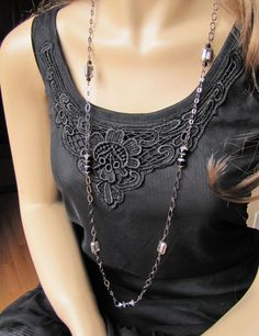 Long Chain Necklace Black Links Silver and Black Beads