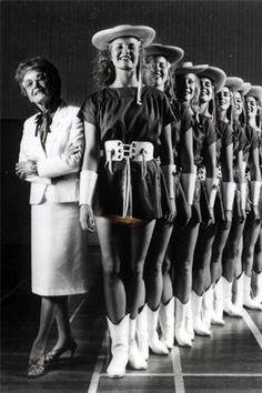 Line members posing with Miss Davis, the founder and first director of Rangerettes. This is one of my favorite pix of the Kilgore Rangerettes