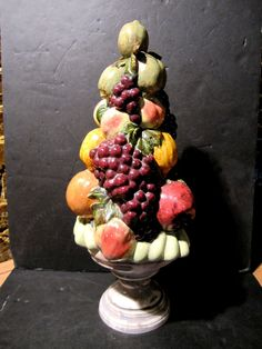 Lovely Tall Ceramic Pedestal Fruit Tree Centerpiece Holland Mold 18 Hand Made Centerpieces