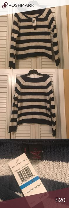 CROCHETED STRIPED SWEATER ☺️ bought from macy's. super cozy brand new with tags! dark navy and white strips. coming from a non-smoking household with no stains or defects! 💕 Sweaters