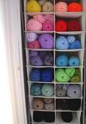 Yarn storage in hanging shoe rack.