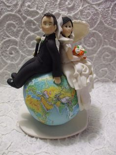 Personalized bride and groom themed travel  wedding cake topper