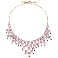 Kate Spade New York Purple Stone Bib Necklace (2 310 UAH) ❤ liked on Polyvore featuring jewelry, necklaces, kate spade, stone jewelry, purple stone jewelry, purple jewelry and sparkle jewelry