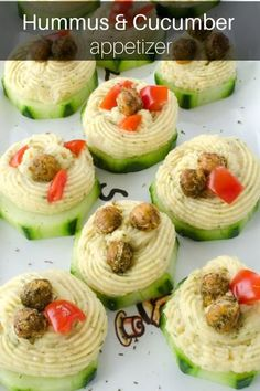 Chickpea & Cucumber Appetizer Cucumber Appetizers, Healthy Appetizers, Appetizer Recipes, Healthy Recipes, What Is Hummus, Cooking Garbanzo Beans, Main Dishes, Side Dishes, Hummus Recipe