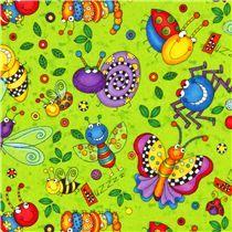 designer fabric with funny ladybugs, dragonflies, spiders, caterpillars, butterflies etc.