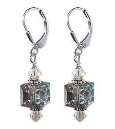 SCER074 Sterling Silver Rare Color Cube Crystal Earrings Made with Swarovski Elements Gem Avenue. $17.99. Secure Sterling Silver Leverback Findings. Made in USA. Approximate Dimension of the Earrings is 1.5 Inch Long. Gem Avenue sku # scer074. Austrian Made with Swarovski Elements and Sterling Silver Accents