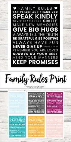 Family Rules Print Brain on Hugs House Rules Sign, Family Rules Sign, Family Motto, Family Quotes, Home Rules, Family Rules Printable, Playroom Rules, Rules For Kids, Rules Quotes