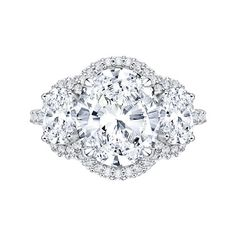 18K White Gold 2 1/5 ct #Diamond #Carizza Semi Mount #Engagement Ring Fit #Oval Center